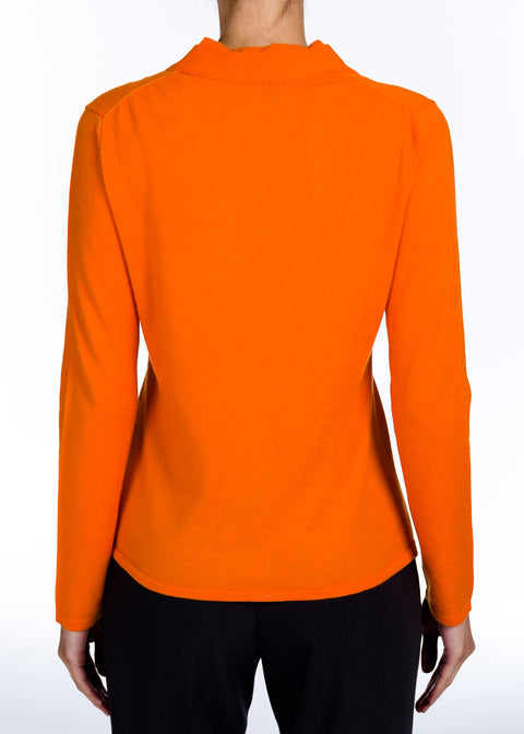 Cashmere Snap Cardigan - Orange - Farinaz Taghavi