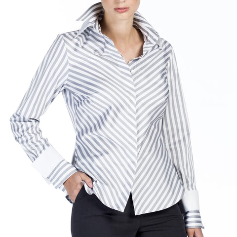 Double Collar - Silver and White Stripe