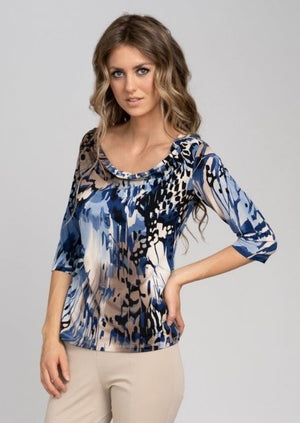 Fab 3/4 Sleeve Blue Water Print