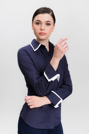 Double Collar - Navy - Farinaz Taghavi