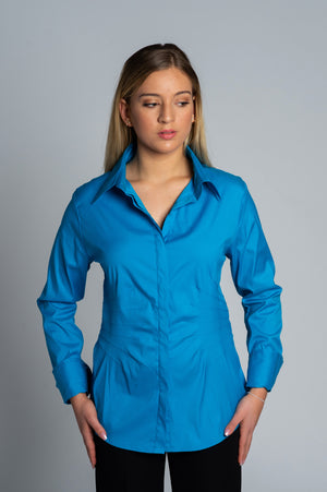 Joy Pleated Shirt in Blue - Farinaz Taghavi