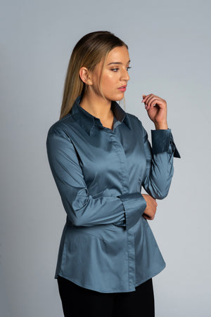 Joy Pleated Shirt - Grey - Farinaz Taghavi