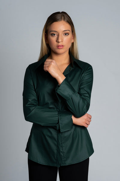 Joy Pleated Shirt - Moss Green