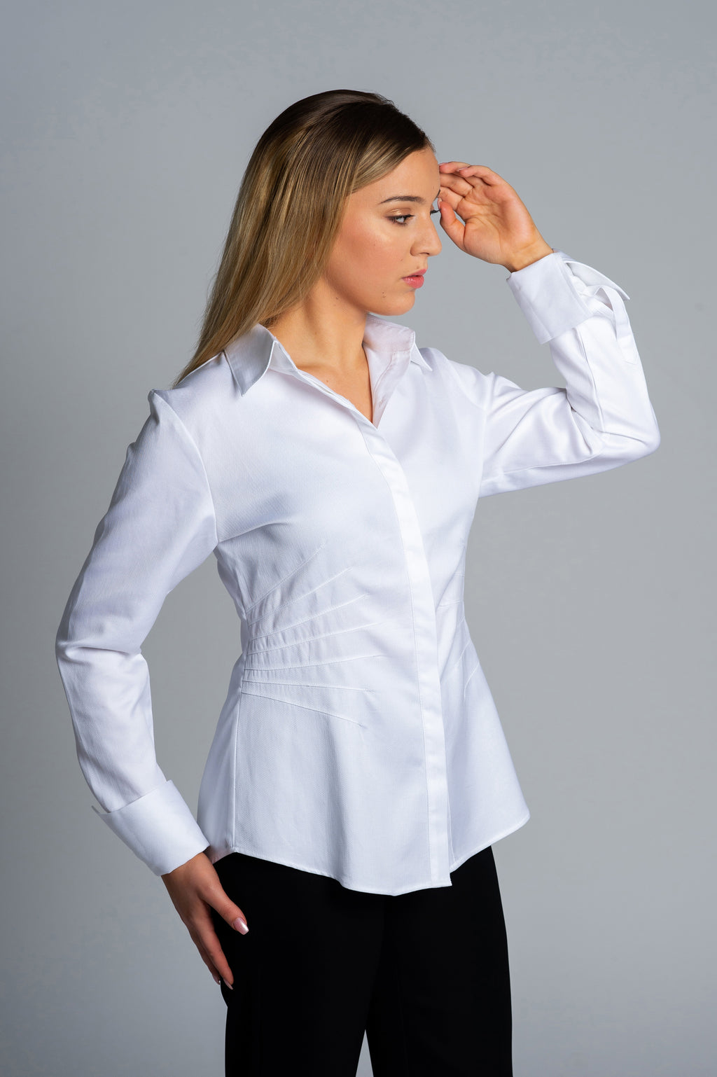 Joy Pleated White Shirt - Farinaz Taghavi