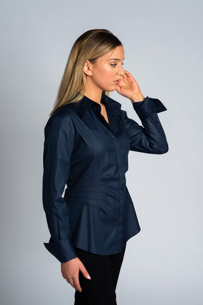 Joy Navy Pleated Shirt