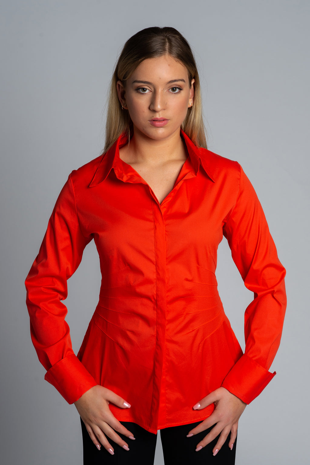 Joy Pleated Shirt in Orange - Farinaz Taghavi