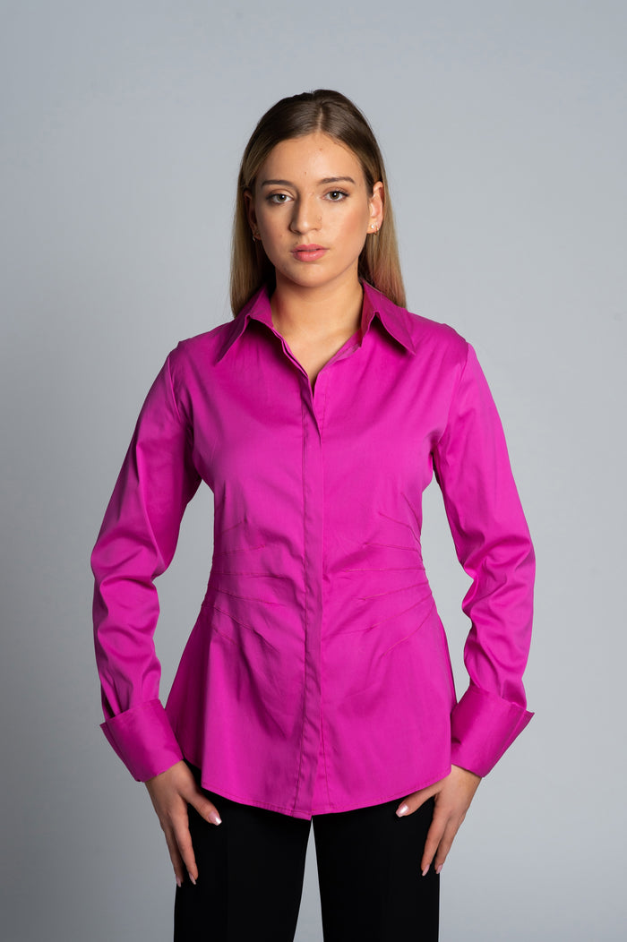 Joy Pleated Shirt in Pink - Farinaz Taghavi
