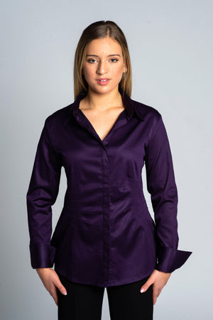 Joy Pleated Shirt in Purple - Farinaz Taghavi