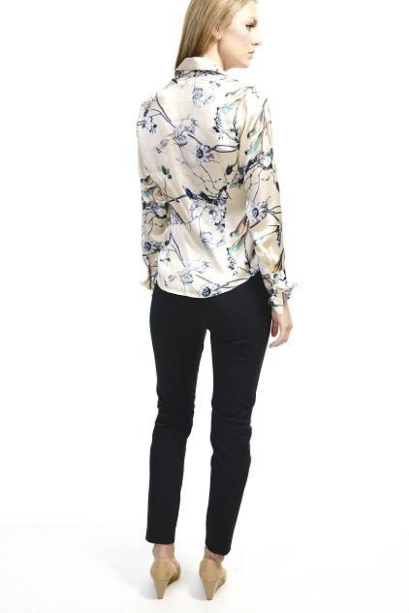 Attitude Satin Silk Bird and Floral Blouse