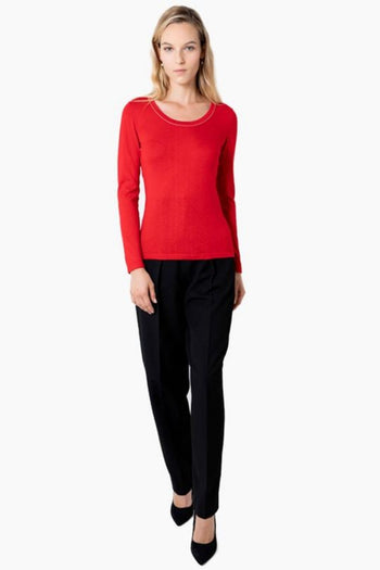 Silk Cashmere Crewneck - Red