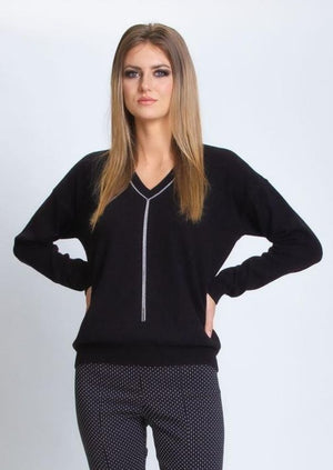 Silk/Cashmere V Neck Sweater - Black