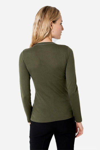Silk Cashmere Crew Neck Sweater - Olive