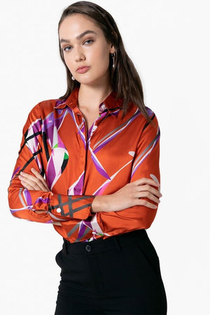 Attitude Abstract Silk Blouse - Saffron