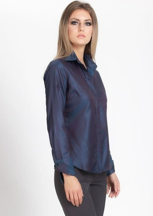 Attitude Shirt - Deep Teal/ Deep Red