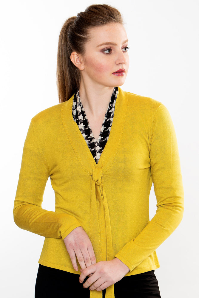 Cashmere Snap Cardigan - Mustard Yellow
