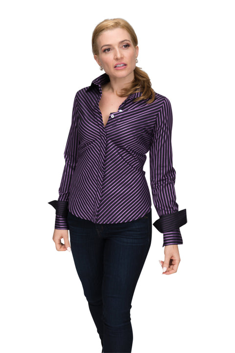 Double Collar - Black with Dark Purple