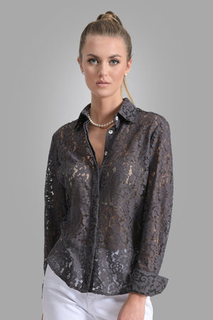 Attitude Lace Shirt in Charcoal