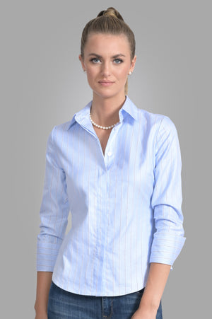 Attitude Classic Stripe Shirt - Powder Blue - Farinaz Taghavi