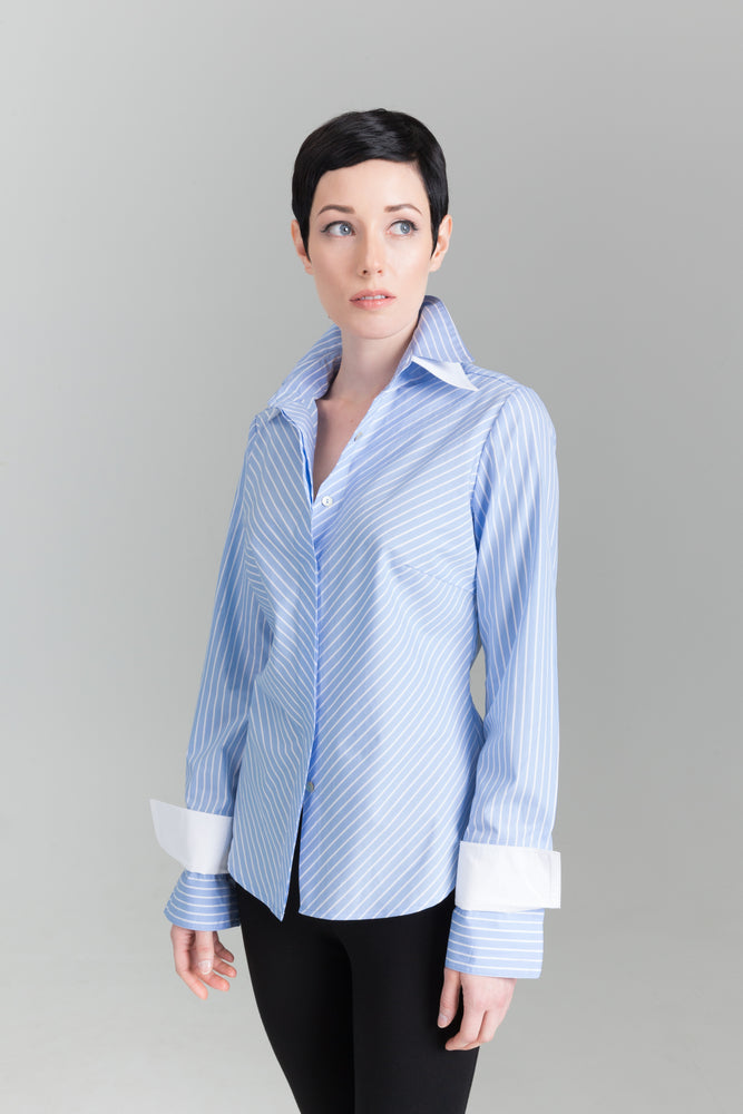 Double Collar - Blue Stripe