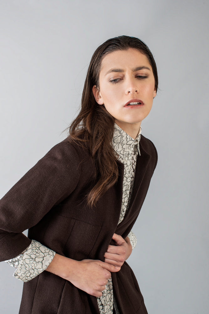 Virgin Wool Jacket - Brown - Farinaz Taghavi