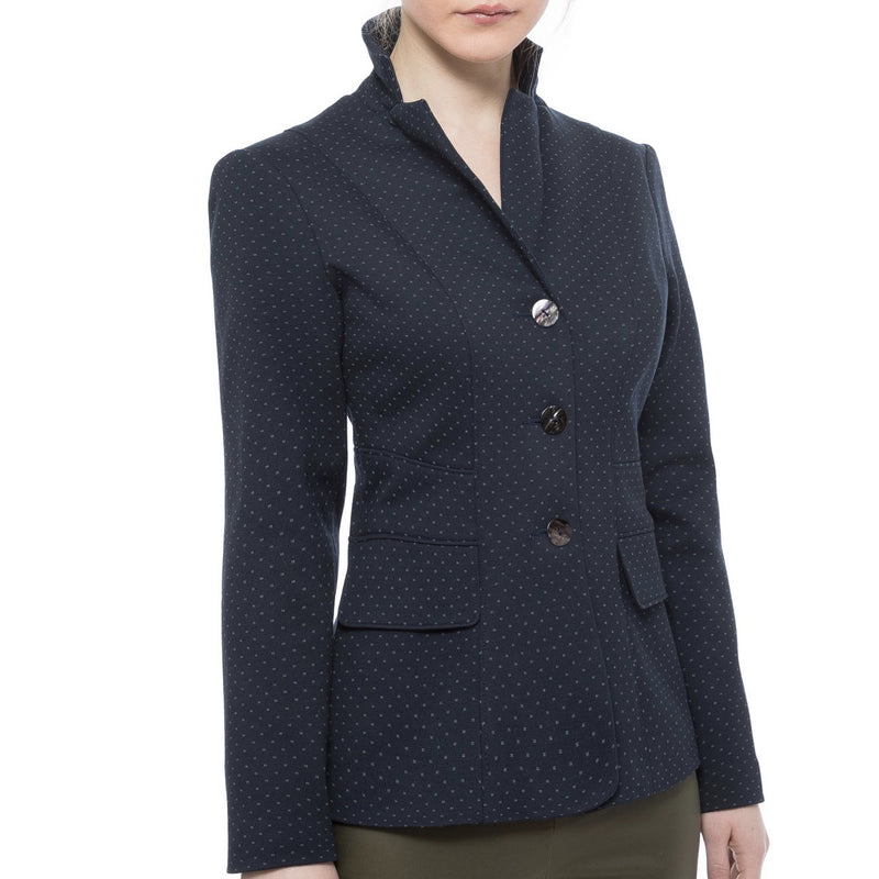 Stretch Cotton Blazer - Navy - Farinaz Taghavi