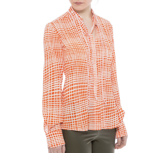 Flow Tie - Orange Plaid Shirt - Farinaz Taghavi