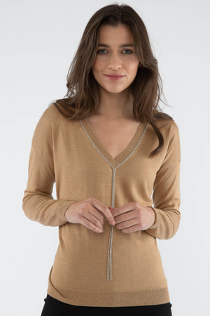 Silk/Cashmere V Neck Sweater - Camel - Farinaz Taghavi