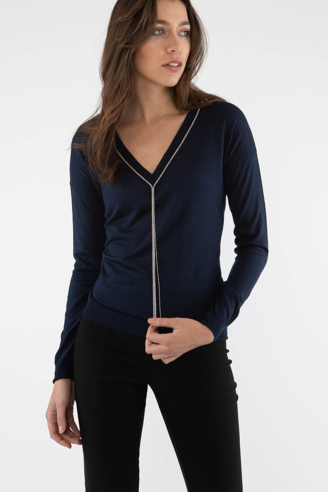 Silk/Cashmere V Neck Sweater - Navy - Farinaz Taghavi