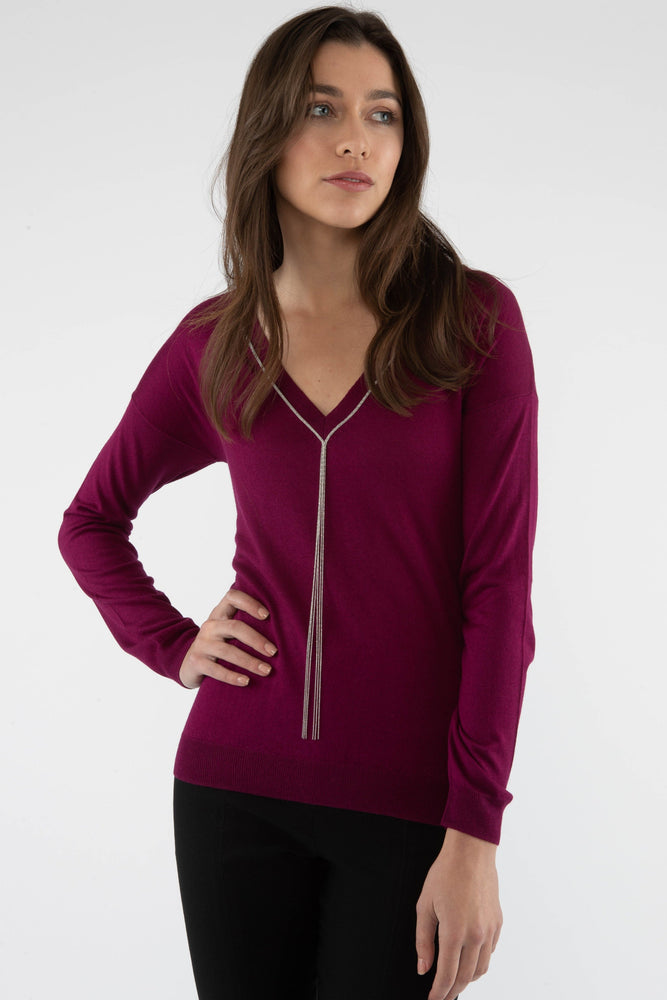 Silk/Cashmere V Neck Sweater - Wine - Farinaz Taghavi