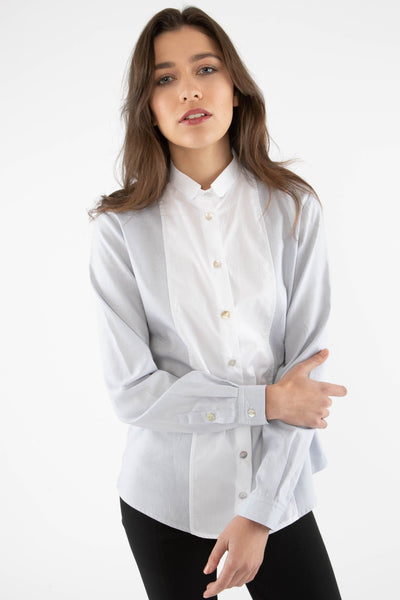 Classic Dress Shirt with Long Tail - Silver Gray