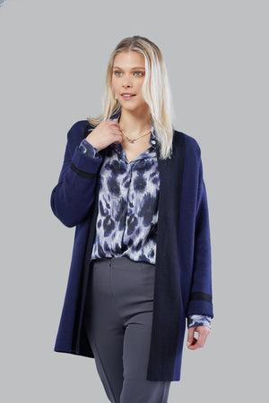 Cashmere Silk Cardigan - Navy & Black