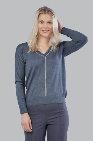 Silk/Cashmere V Neck Sweater - Charcoal