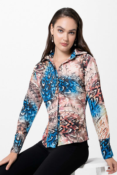 Attitude Soft Feathers Blouse - Blue