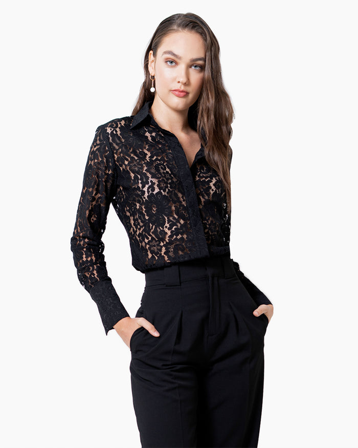 Attitude Lace Shirt - Black Lace
