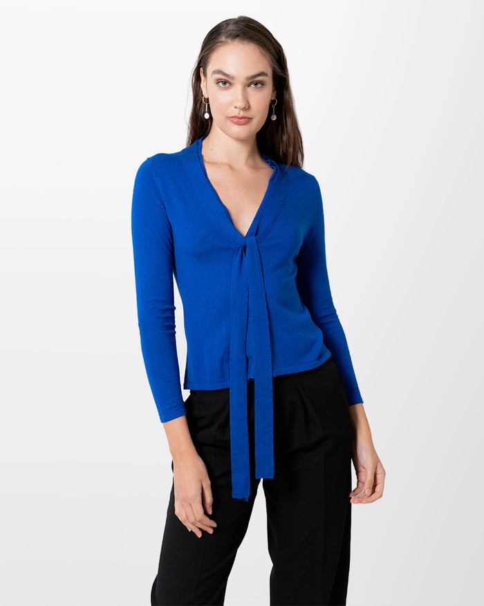 Silk Cashmere Cardigan - Royal Blue - Farinaz Taghavi