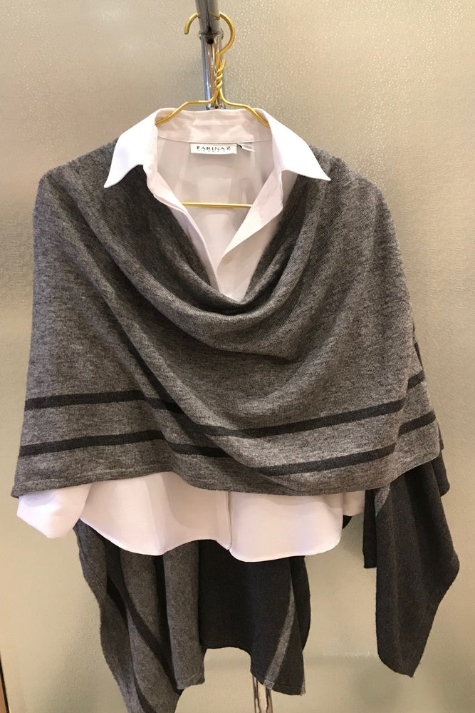Cashmere wrap with black stripe detail - Farinaz Taghavi