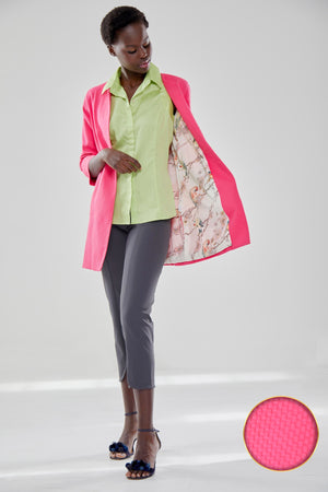 Pink Cotton Jacket 3/4 Sleeve With Bird and Flower Lining