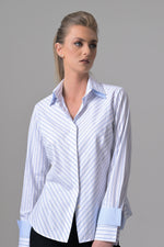 Double Collar - White with Blue Pencil Stripes