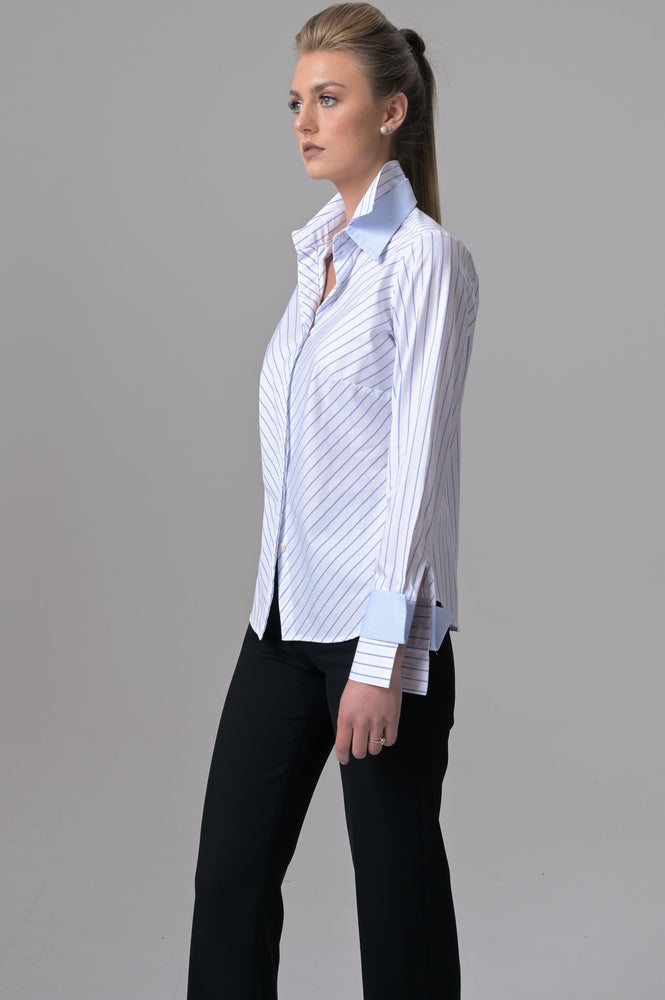 Double Collar - White with Blue Pencil Stripes - Farinaz Taghavi