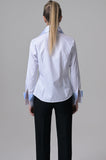 White with Light Blue Stripes Shirt - Farinaz Taghavi