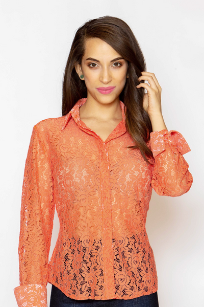 Attitude Dress Shirt - Coral Lace