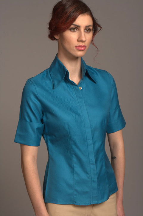 Fitted Shirt - Teal - Farinaz Taghavi