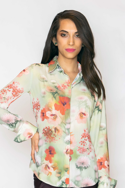 Attitude Shirt - Floral on Meadow Green