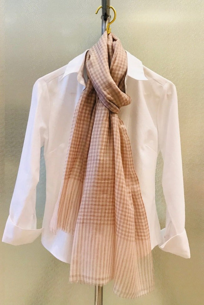 Cashmere Blush Checkered Scarf