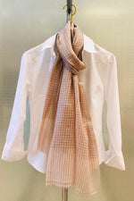 Cashmere Blush Checkered Scarf - Farinaz Taghavi