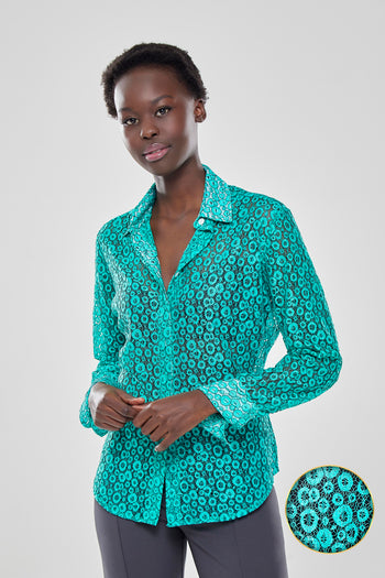 Attitude Lace Shirt in Bright Mint