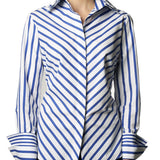 Double Collar - Royal and White Stripe
