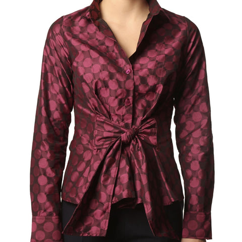 Slim - Fuschia Polka Dots Shirt