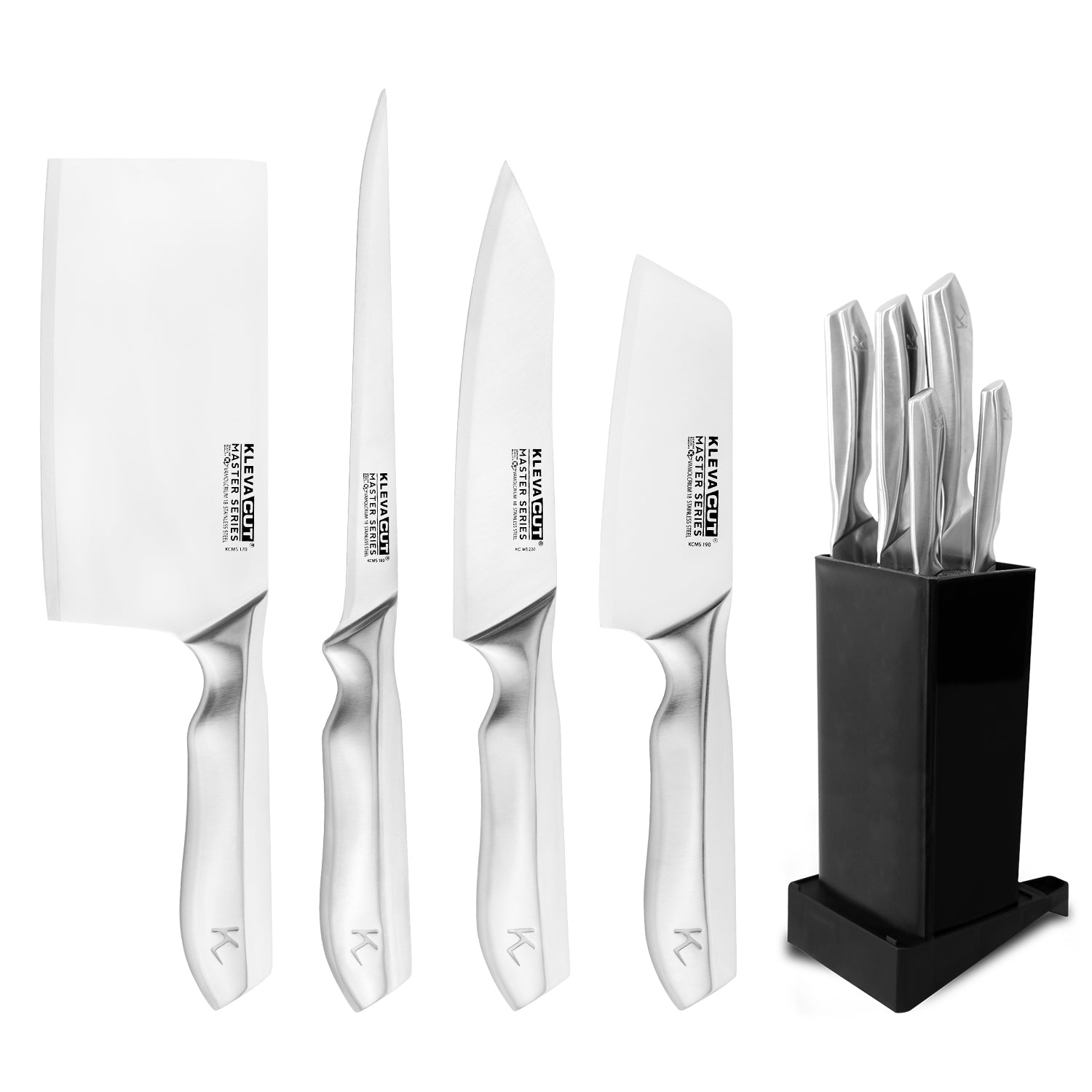 Speciality 4 Piece KlevaCut® Master Series Knife Set + Universal Knife Block