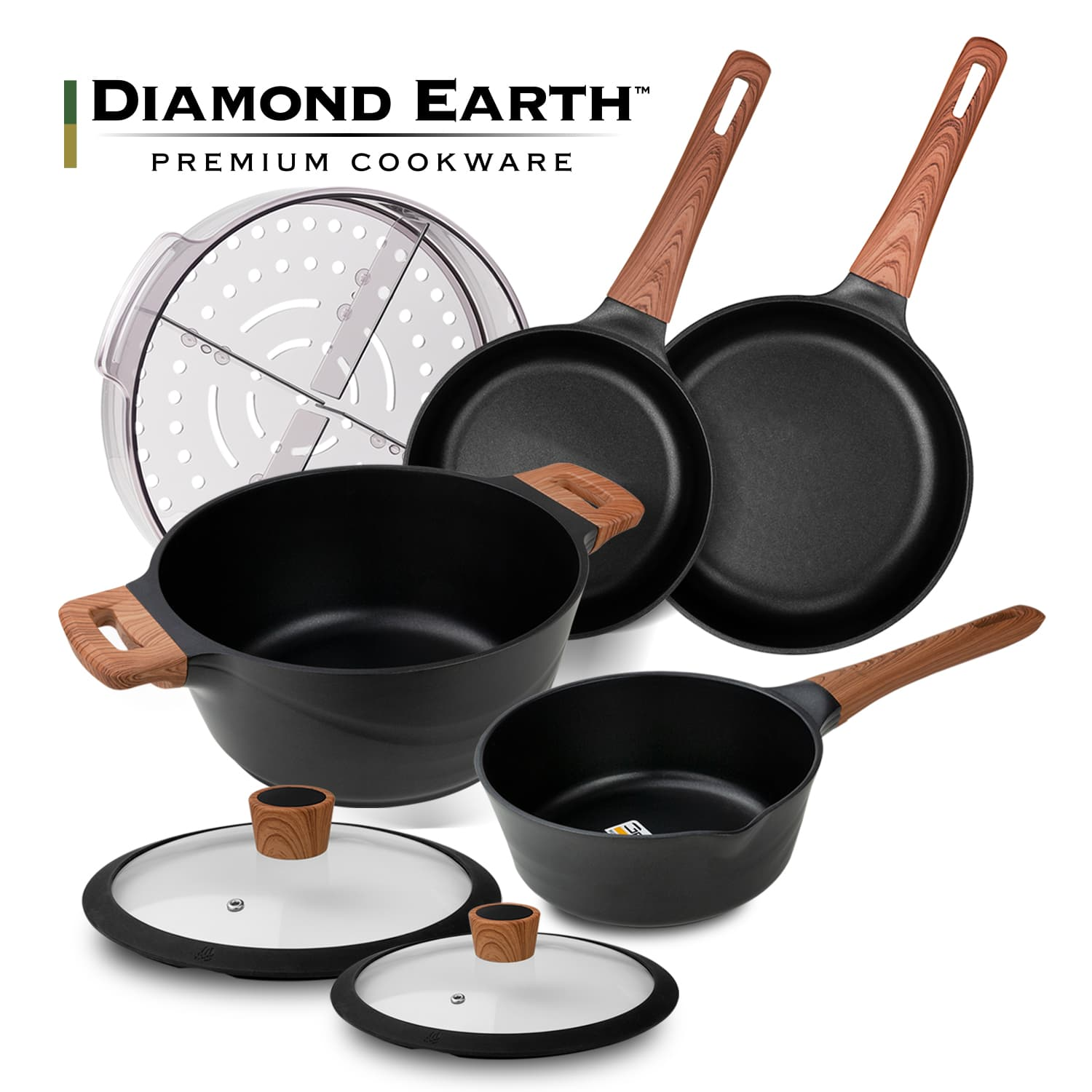 Diamond Earth Premium Non-Stick 7pc Cookware Set + Choose Your BONUS Gifts!